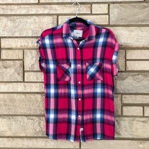 Rails Britt Plaid Flannel Cap Sleeve Shirt
